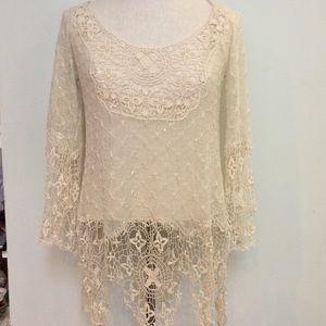 Crochet cream boho fringe floral lace tunic sequin